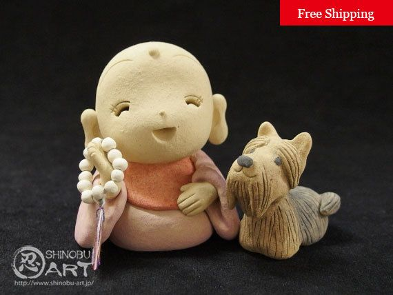 Etsy のCeramic Jizo And Yorkshire Terrier, Kawaii Zen Ceramic Doll , Japanese Kimono Style, Free Shipping(ショップ名:ShinobuArakiArt)