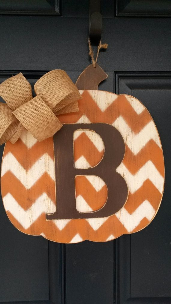 Fall door decor Wood pumpkin door decor by BlessHerHeartDesigns