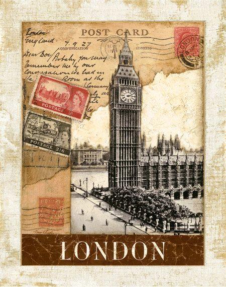 """Matasellos de Londres, torre de reloj de Big Ben 11 """"x 14"""""""