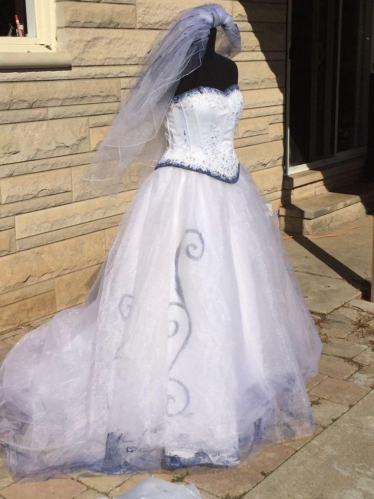 The Corpse Bride Emily Wedding Dress Gown VEIL Halloween Costume OOAK Sz 8
