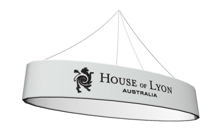 An oval-shaped hanging sign.