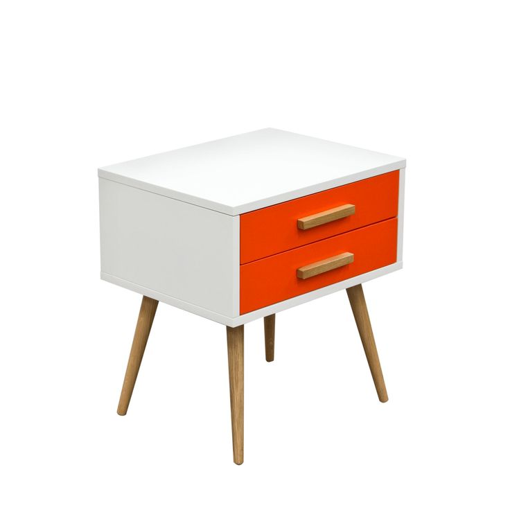 Tangent 2 Drawer Accent Table with White Top, Orange Drawers & Oak Legs