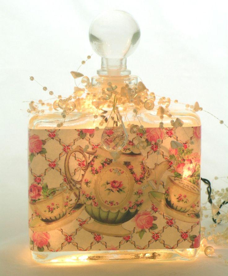 Tea and Roses Perfume Bottle Nightlight  ( Night Light ) - Perfume Bottle Nightlights - Roses And Teacups  - 1  #altered <3!