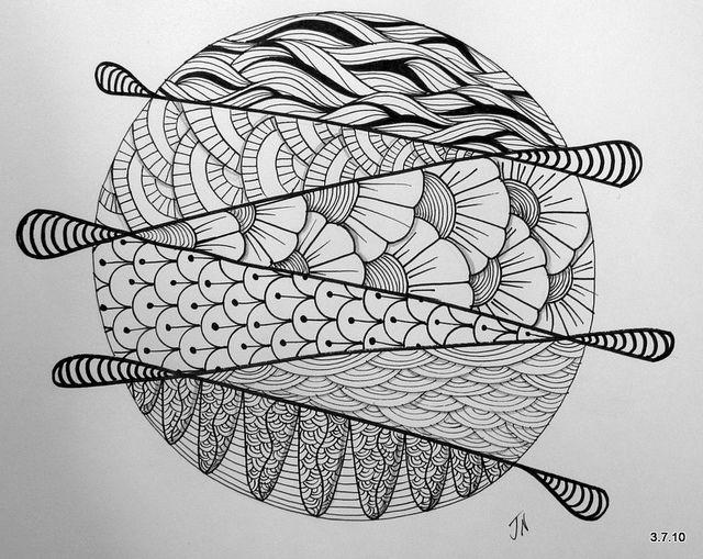 zentangle doodles zentangles easy patterns doodle drawings mandala circle mandalas circles simple drawing sugar bowl step flickr string strings ink