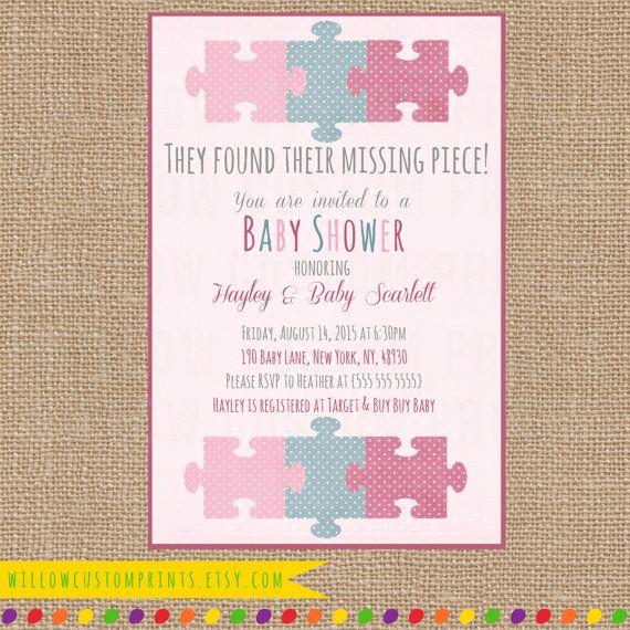 MISSING PIECE INVITATION Baby Shower - Pink Purple Blue - Adoption - Polka Dots - Puzzle Piece - Digital Printable