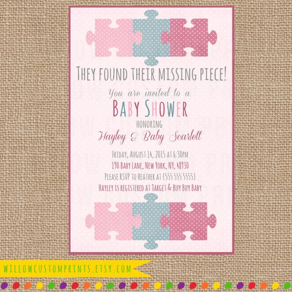 MISSING PIECE INVITATION Baby Shower - Pink Purple Blue - Adoption - Polka Dots - Puzzle Piece - Digital Printable