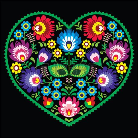 Popular polaca arte del corazón del arte con las flores - Wycinanki en negro