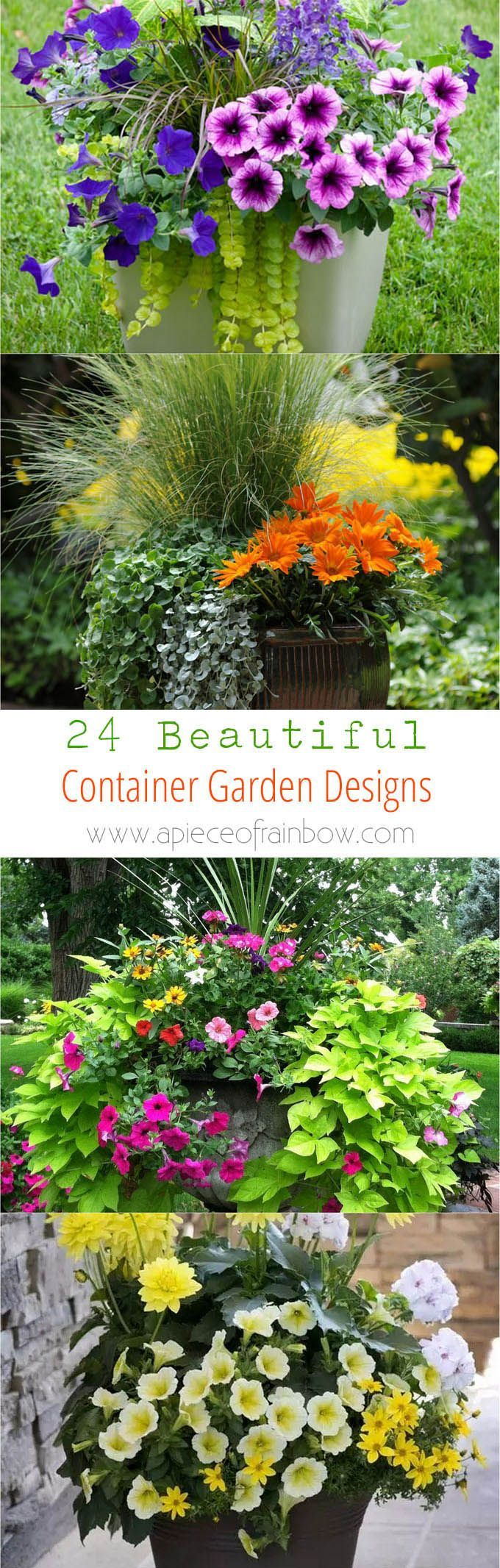 24 stunning container garden designs with plant list for each! Learn the designer secrets to these beautiful planting recipes