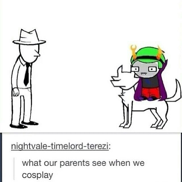 What our parents see when we Homestuck Cosplay. Don't care still doing it kthxbai