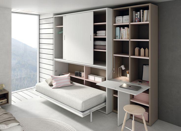 Cama y mesa de estudio abatible. http://www.aristamobiliario.es/68-camas-abatibles