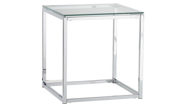 $149 smart glass top side table 17.75w x 17.75d x 19h