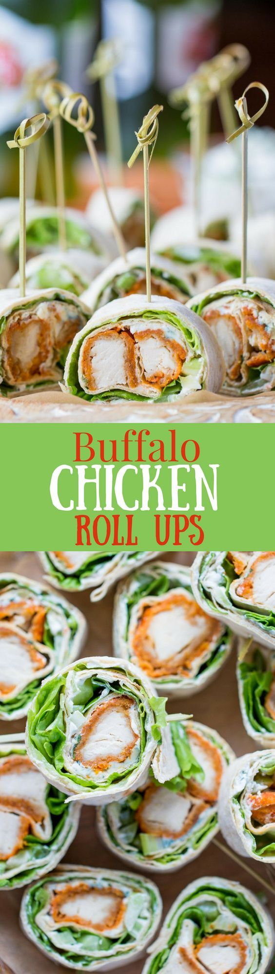 Buffalo Chicken Roll Up Appetizers ~ made with all-natural frozen chicken tenders tossed in hot sauce, then rolled up with a homemade blue cheese dip, celery, and crisp lettuce. blue cheese | buffalo chicken | appetizer | roll ups | wraps | http://www.savingdessert.com