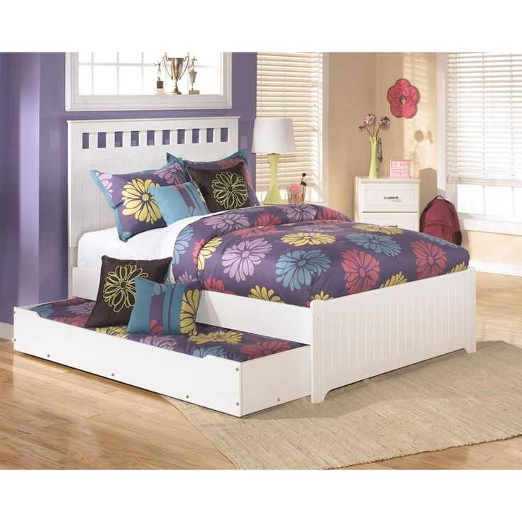This bed is perfect for sleepovers—just pop the popcorn and pull out the trundle! Lulu Full Bed/Trundle | Weekends Only Furniture and Mattress