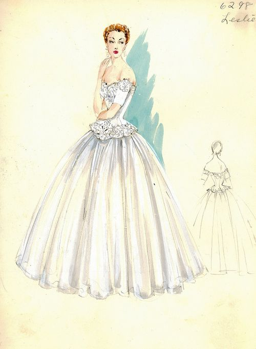 theniftyfifties:        Evening gown sketch by Leslie Morris for Bergdorf Goodman, 1950s.