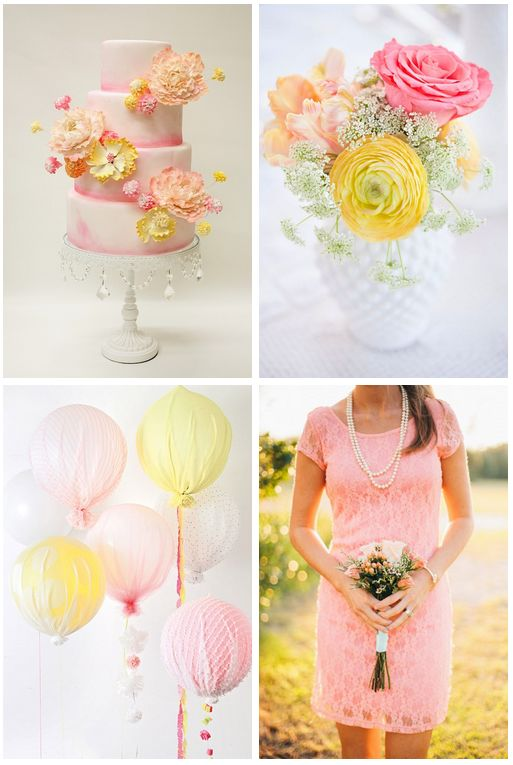 Pretty palette for Spring: Pink & yellow. http://www.theperfectpalette.com/2014/04/4-ways-to-style-pink-wedding.html