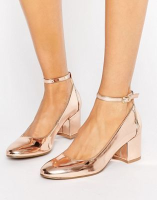 London Rebel Rose Gold Mid Heel Shoe