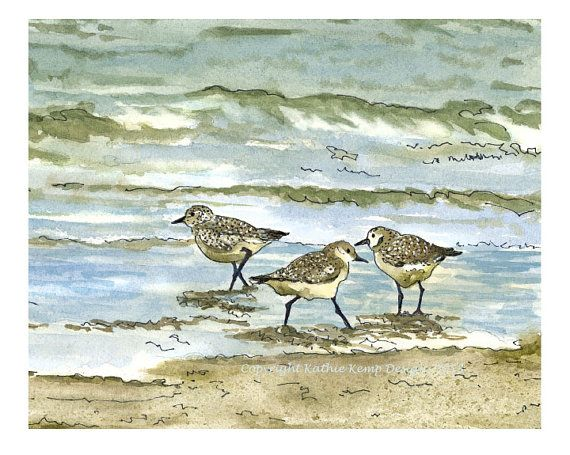 Sandpipers Birds Beach Pen and Ink Watercolor Painting Gift Idea Beach House Wall Decor Drawing Surf Ocean Waves Sea Green Aqua Blue Giclee