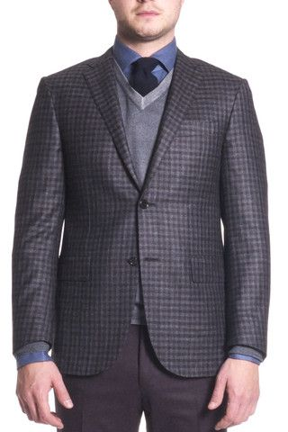 Corneliani Men's Grey/Navy Sport Jacket | The Helm Clothing | Edmonton, AB