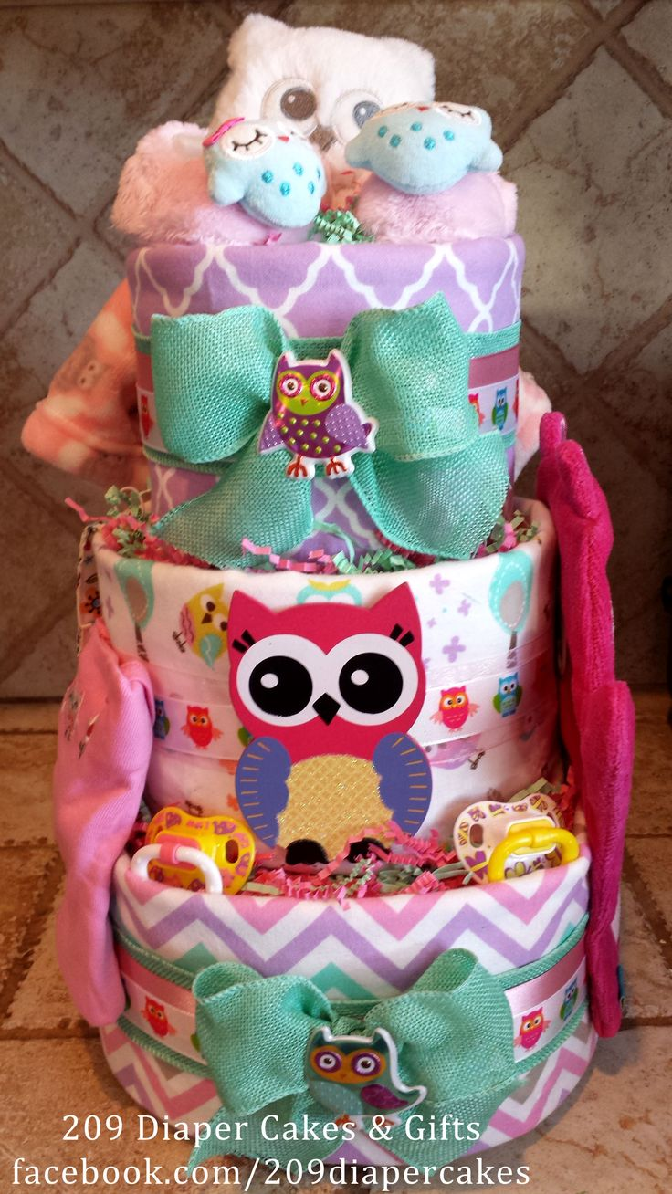 40 best girl diaper cakes images on pinterest girl diaper cakes who who doesnt love a colorful owl diaper cake by 209 diaper cakes baditri Gallery