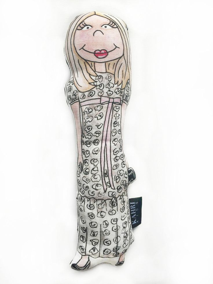 "Chloe Sevigny Doll. Original watercolor painting illustration artwork by KahriAnne Kerr of Chloe Savigny printed on Linen/Cotton Canvas with solid black linen back and filled with poly fiber fill to create a cute little fashion doll. 10.5"" H."
