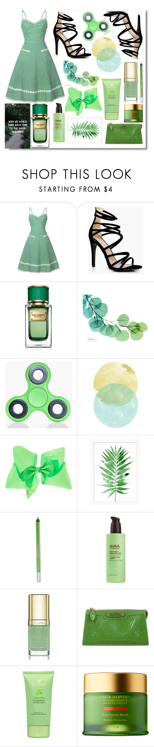 """""""Dress - Lime Green"""" by rose-chan-needs-a-life ❤ liked on Polyvore featuring Boohoo, Dolce&Gabbana, Pottery Barn, Urban Decay, Ahava, Louis Vuitton and Tata Harper"""