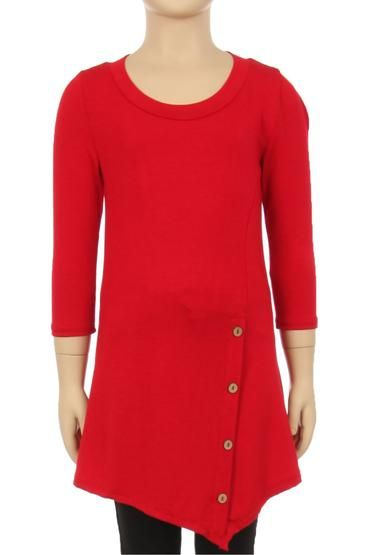 b3756614e885b4 Tunic Top For Girls Asymmetric Hem Side Buttons Solid Red  S M L XL - MomMe  and More