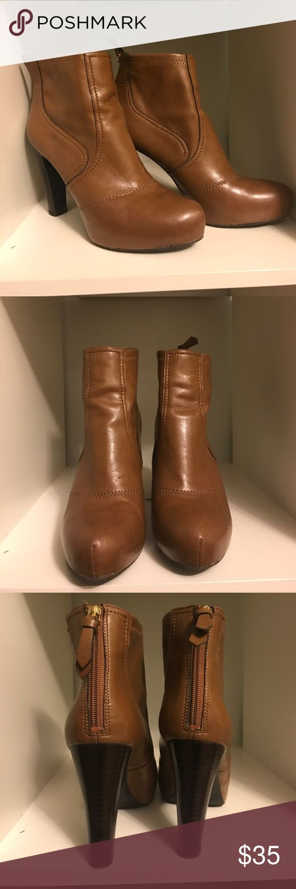 Franco Sarto Artist Collection brown heel boots Franco Sarto Artist Collection brown faux leather heel ankle boots with zip at back and wooden heels. Like new condition.  Only minor scuffing to bottoms Franco Sarto Shoes Ankle Boots & Booties