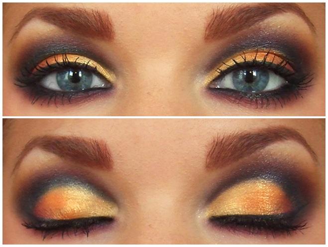 eye makeup w/ burgundy, gold, & black
