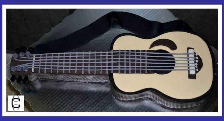 2D FONDANT GUITAR CAKE (Pastel en forma de guitarra) | Repostreria ...