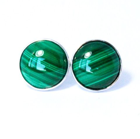 Natural malachite cabochon round pair 925 solid silver post earrings - CLICK HERE