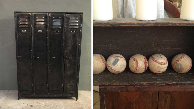 vestiaire métal vintage balles baseball