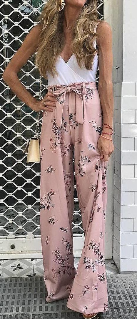White Wrap #Top + Pink #Floral #Pants