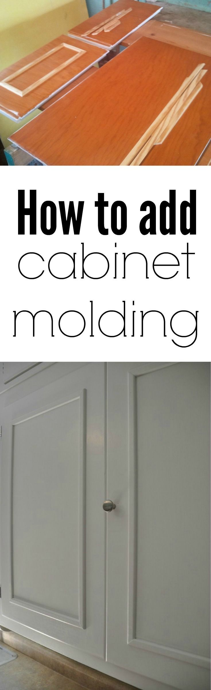 How to add cabinet molding.  Adds dimension to older kitchen cabinets!