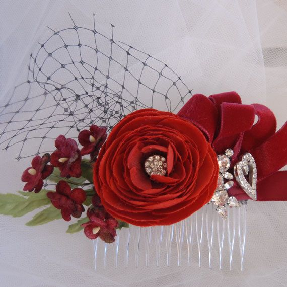 Red Flower Head Piece, Wedding Hair Accessory,  Rockabilly Wedding Headpiece, Bridal Flower Fascinator, VelvetTeacup on Etsy, $55.00
