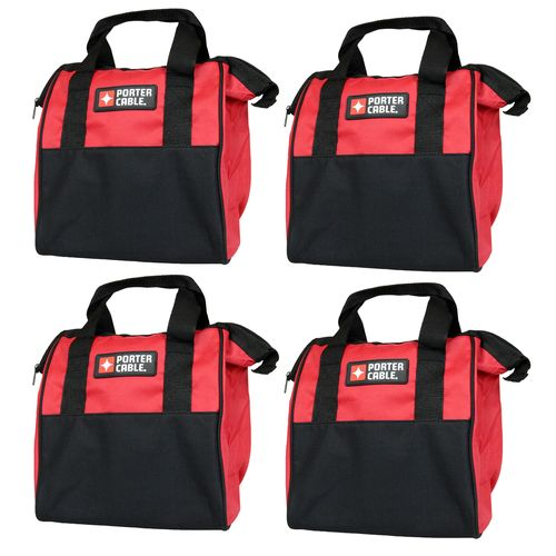 "Porter Cable 10"""" Red Soft Sided Durable Tool Bag - 4 Pack"