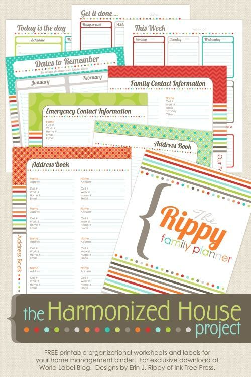 "This really awesome organizing Family Planner ""The Harmonized House Project"" is designed by Erin Rippy of InkTreePress.com and is FREE for download at blog.worldlabel.com"