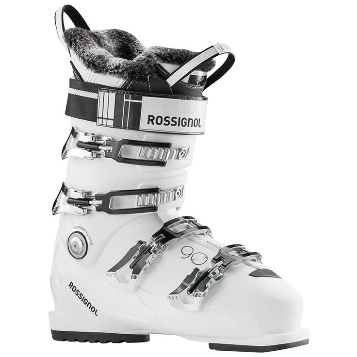 The Pure Pro 90 W ski boots are performance ski boots designed specifically for intermediate to advanced women skiers. The 100mm last is relatively forgiving, but still results in precision performance and great power transfer. These boots use a Merino Wool liner helping keep your feet warm and comfy even in really cold temperatures. The boots are packed with technology and features like flex adjustments, canting adjustments, replaceable soles, and more!
