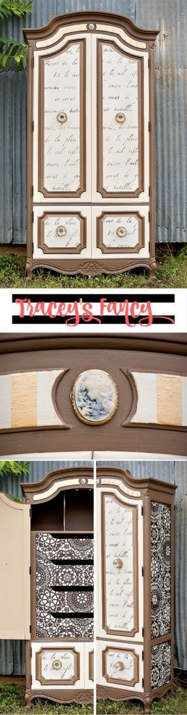 Armoire Makeover in Neutrals | Neutral + Tan Furniture | Furniture Painting Tips by Tracey's Fancy | How to add stencils and scripts to furniture | How to Paint Furniture