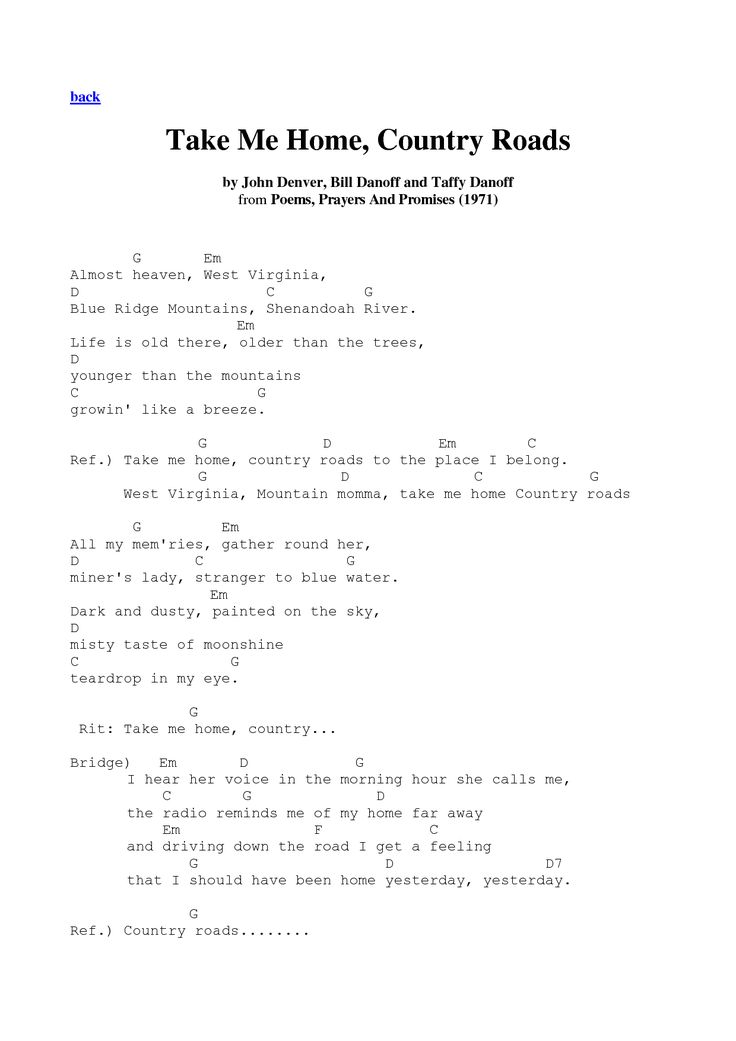 TAKE ME HOME COUNTRY ROADS CHORDS by John Denver - induced.info