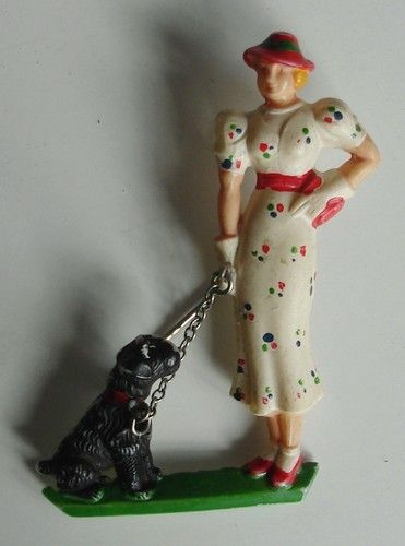 Celluloid Lady with Scotty dog brooch.