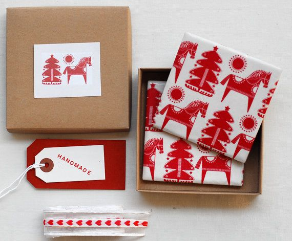 Christmas coasters Red and White set of 2 last three by mayagencic, $17.00