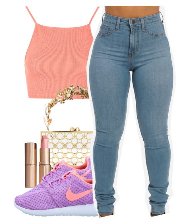 """""""Untitled #593"""" by iluvhaters143-749 ❤ liked on Polyvore featuring Topshop, Charlotte Olympia, Charlotte Tilbury and NIKE"""