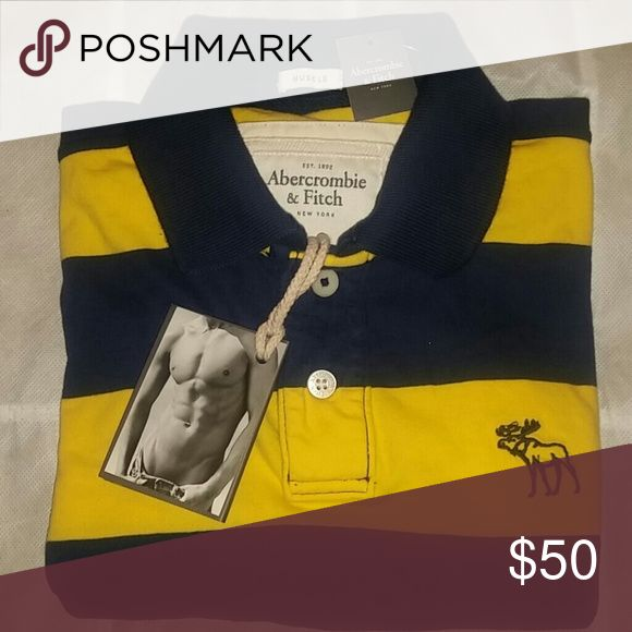 ***ABERCROMBIE & FITCH*** MENS POLO Mens Short Sleeve Rugby Polo in Bold Blue & Bright Yellow Stripes!!!  Muscle Style. 100% Cotton. NEW With Tags Abercrombie & Fitch Shirts Polos