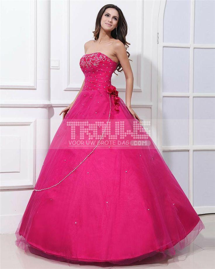 http://www.trouws.com/feestjurken-c4 garen satijnen bloem kralen strapless vloer lengte quinceanera jurken - €201.31 , Trouws.com