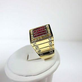 14k Oro Amarillo Diamante Redondo Banda de hombre Rubíes & Princesa Anillo Tamaño 9.25