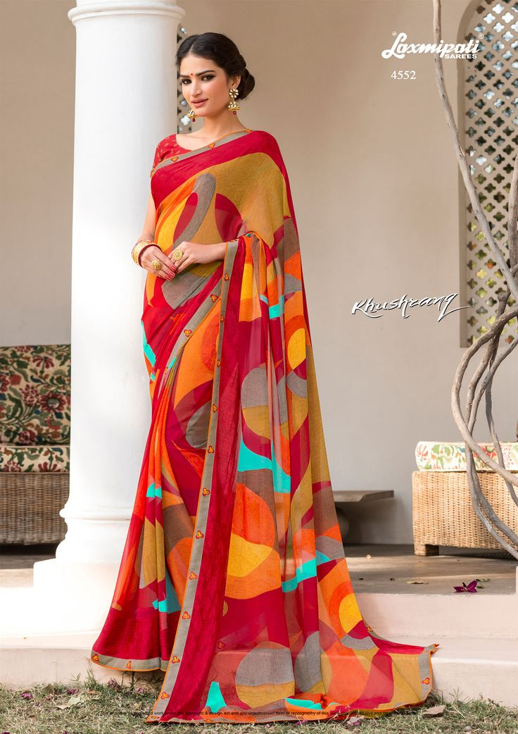 Wear this multicolour #georgette #designer #printedsaree from #Laxmipati at an upcoming special #occasion and let all eyes follow you. Get the attention you deserve! #Catalogue-KHUSHRANG, Design Number-4552 #Price - ₹ 1775.00  #KHUSHRANG0317 #Laxmipatisarees
