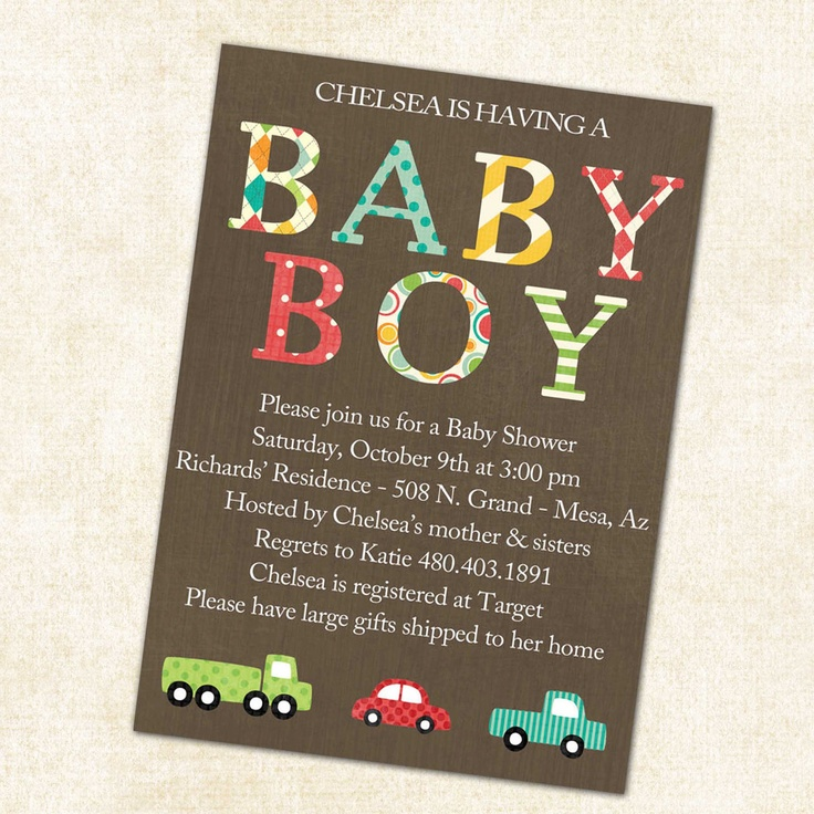 baby boy shower invitation with cars printable digital file (item 1229). $13.00, via Etsy.