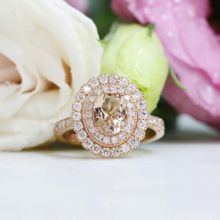 Morganite and diamond rose gold ring // KL Diamonds