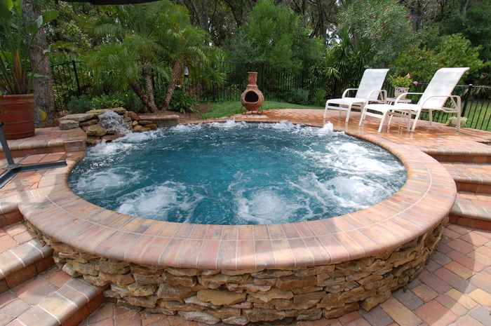 Or simply a larger spa only, the use of natural material textures vs. cool-deck and cement is very appealing.