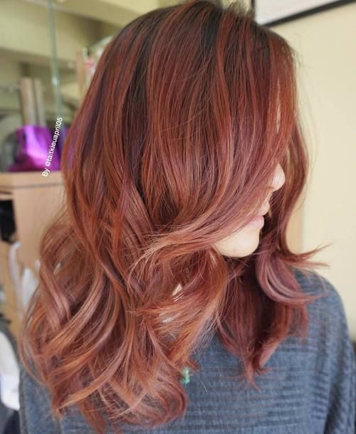 Burgundy brown with strawberry and rose coloring